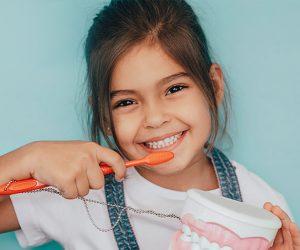 Niña pequeña primeros dientes